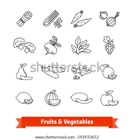 Fruits & Vegetables thin line art icons set. Farm market, fresh foodstuffs. Linear style symbols isolated on white.