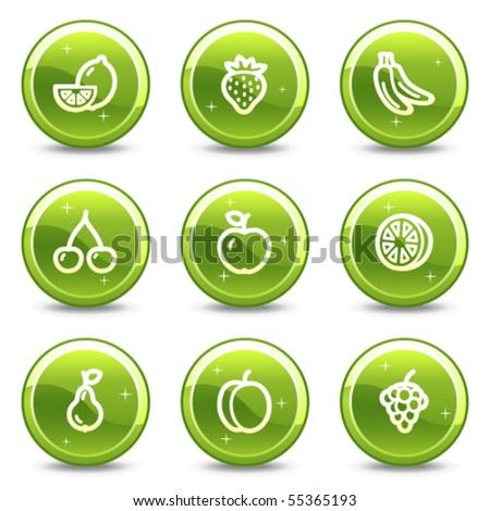 Fruits web icons, green glossy circle buttons series