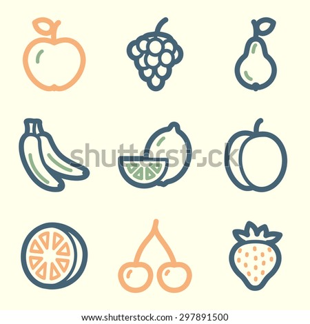 fruits web icons  square buttons