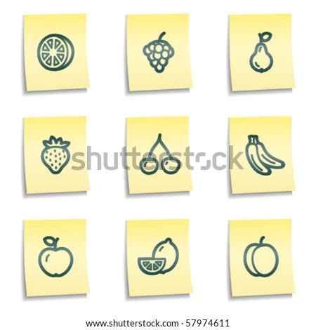 fruits web icons  yellow notes