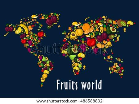 fruits world map placard