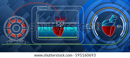 Fruitshake concept. 3D printing a human heart on a 3D printer for DNA. On a 3D printer prints human heart in a special container. The prototype of the heart is depicted next..