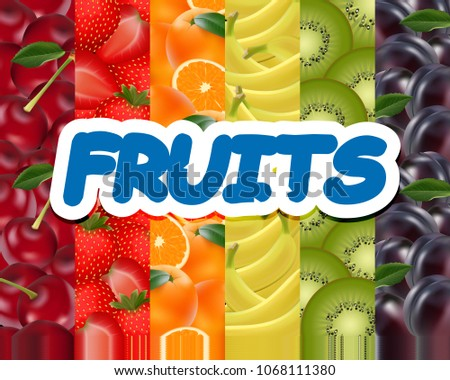 fruity rainbow background. A variety of fruits. Realistic background. Vector illustration.