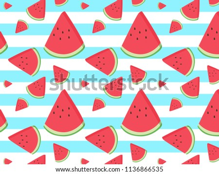 Fruity vector pattern with paint textured watermelon pieces. Striped background.