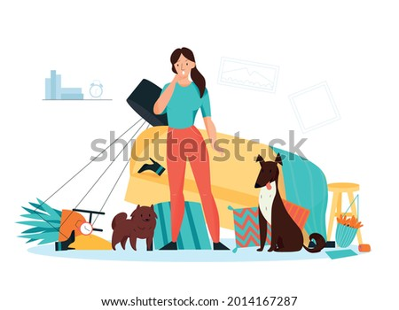 Frustrated dog owner looking at mess made by her naughty pets in living room flat vector illustration Foto stock ©