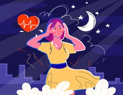 Frustrated female character with nervous problem feels anxious and holds her head. Concept of anxiety and confusion of thoughts. Mental disorder in consciousness. Flat cartoon vector illustration
