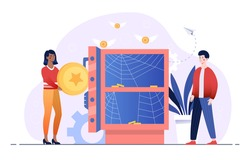 Frustrated male and female characters are standing next to empty safe. People are losing all money. Concept of financial troubles, inflation, global business crisis. Fla cartoon vector illustration