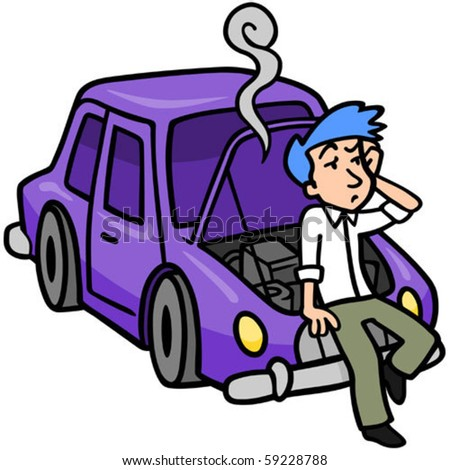 Frustrated man leaning against his broken down car.