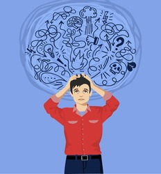 Frustrated man with nervous problem. Man feel anxiety and confusion of thoughts. Man with chronic fatigue and nervous tension. Mental disorder and chaos in consciousness. Vector flat illustration