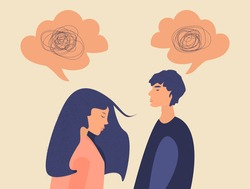 Frustrated sad woman and man in a quarrel with nervous problem feel anxiety and confusion of thoughts. The couple with Mental disorder, problems and chaos. Speech bubble. Flat vector illustration.