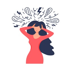 Frustrated woman with nervous problem feel anxiety and confusion of thoughts. Mental disorder and chaos in consciousness. Girl with anxiety touch head surrounded by think. Mental chaos, frustration