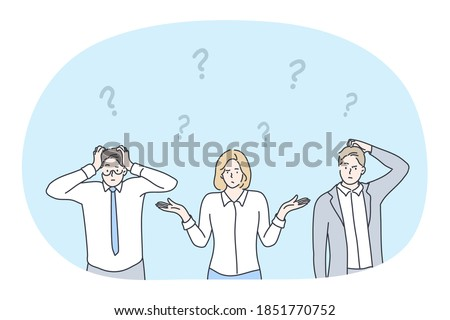 Frustration, business crisis, doubt, challenge, having no idea concept. Young business people office workers cartoon characters standing and expressing frustration with difficult situation on work