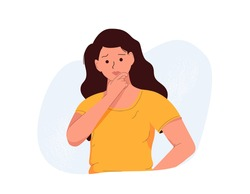 Frustration, doubt, having no idea concept. Young confused woman cartoon character standing and expressing frustration with difficult situation trying to find solution in head vector illustration