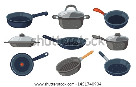 Frying pan vector icons set. Kitchen pots and different pans isolated on white background. Сток-фото ©
