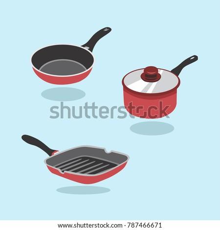 Frying Pan Vector Set. A Set Of Kitchen Items For Cooking. Pan, Saucepan, Frying Pan.