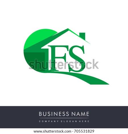 fs letter roof shape logo green