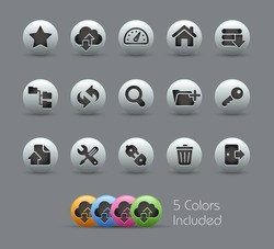FTP & Hosting Icons // Pearly Series -------It includes 5 color versions for each icon in different layers ---------