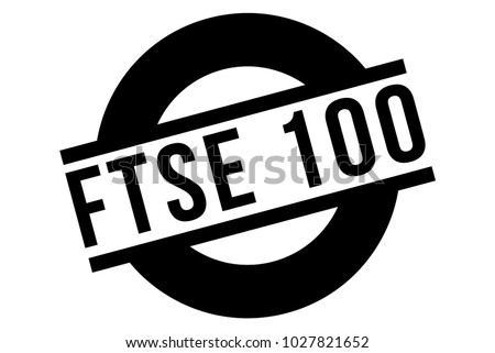 FTSE 100 stamp. Typographic sign, stamp or logo