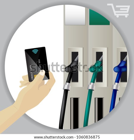 Fuel dispenser and fuel nozzles at a filling station to pump petrol, gas, diesel. Contactless wireless credit card payment. Petrol pumps. Vector