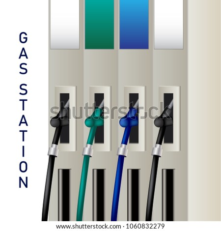 Fuel dispenser and fuel nozzles at a filling station to pump petrol, gas, diesel. Petrol pumps. Vector