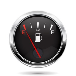 Fuel gauge. Car dashboard sign with empty tank indication. Vector illustration isolated on white background