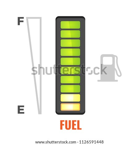 Fuel gauge in tank of car icon. From full to empty