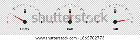 Fuel Gauge Meter Empty, Half And Full - Vector Illustration - Isolated On Transparent Background ストックフォト ©