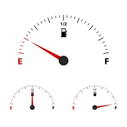 Fuel Gauge Meter Empty, Half And Full - Vector Illustration - Isolated On White Background