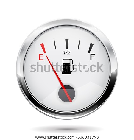 Fuel gauge. Round gauge with chrome frame. Vector illustration isolated on white background