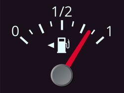 Fuel gauge. Vector illustration. Design element of automotive dashboard. Red arrow indicates fullness level of the fuel tank. Horizontal screen layout. White scale on black.