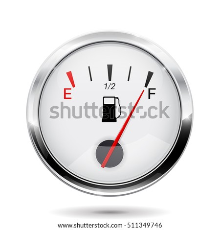 Fuel gauge with chrome frame. Full indication. Vector illustration isolated on white background