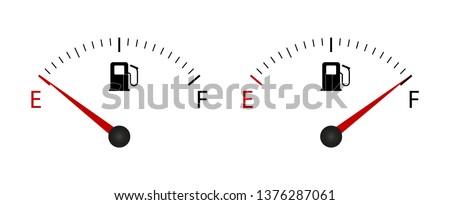 Fuel indicator Meter.  Fuel gauge. Vector illustration.