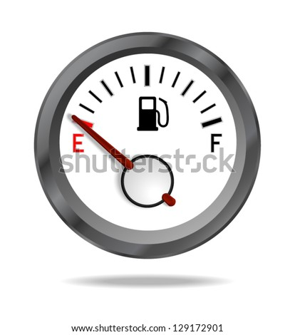 Fuel indicator shows low fuel level. Vector illustration
