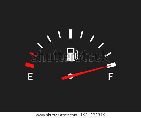 Fuel indicators gas meter. Gauge vector tank full icon. Car dial petrol gasoline dashboard Photo stock ©