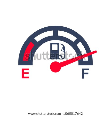 Fuel meter. Gas gauge. Gas tank. Car control sensor. Vector illustration flat design. Isolated on white background. Automobile indicator template.
