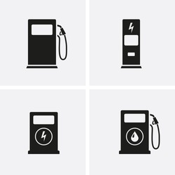 Fuel pump, gas station and Electric car charging Icons set. Vector petrol and electric station