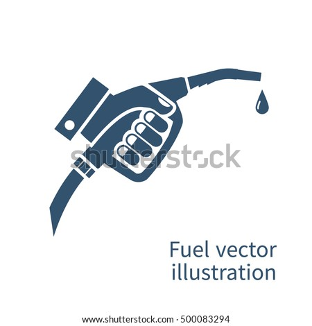 Fuel pump in hand man black silhouette. Petrol station. Holding fuel nozzle. Gasoline pump with drop.  Vector illustration flat design style. Icon isolation on a white background.