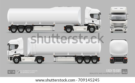Fuel Tanker Truck vector template. Water or gasoline Tank Truck trailer template isolated on gray. Realistic Petrol Tank mockup for branding and corporate identity design