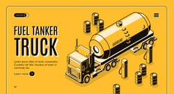 Fuel transportation isometric vector web banner with tanker truck carrying gasoline to gas station line art illustration. Oil refining industry cargo transport. Petroleum trade company landing page