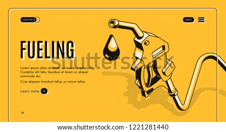 Fueling gasoline or diesel isometric vector web banner. Fuel nozzle on hose and droplet of gas, ethanol or biodiesel, line art illustration. Filling stations network, petroleum company landing page