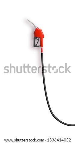Fueling gasoline or diesel vector web banner. Fuel nozzle on hose of gas, ethanol or biodiesel, line art illustration. Filling stations network, petroleum company landing page. Fuel vector