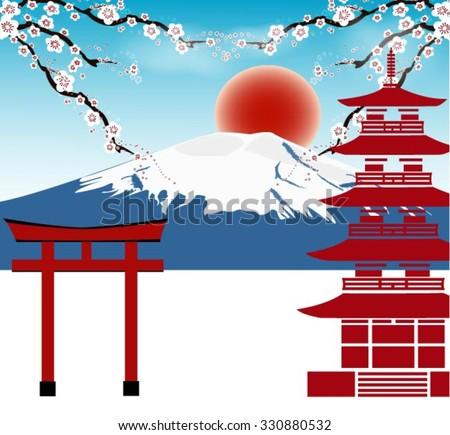 fuji  japan travel concept