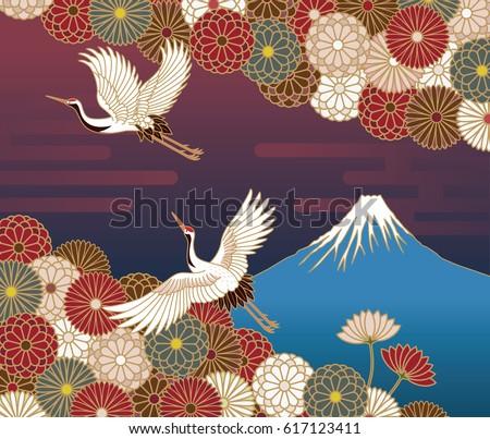 fuji mountain  cranes and
