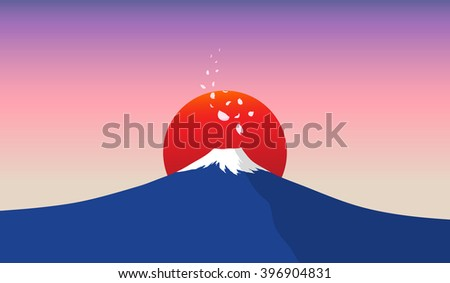 fuji mountain with falling