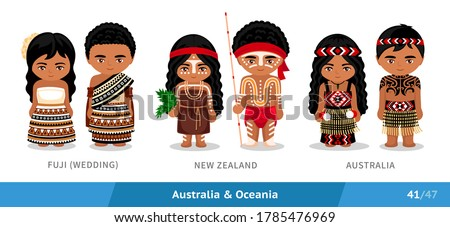 Fuji, New Zealand, Australia. Set of people wearing ethnic traditional costume. Isolated cartoon characters. Australia and Oceania. Vector flat illustration.
