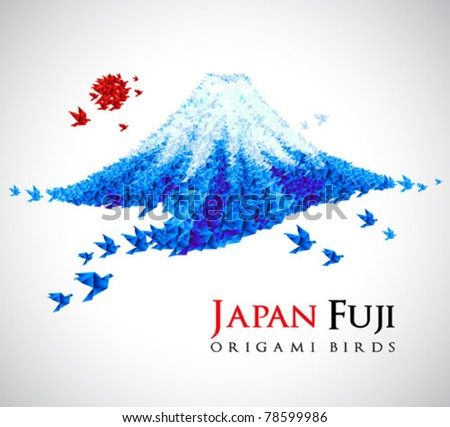 fuji shaped from origami birds