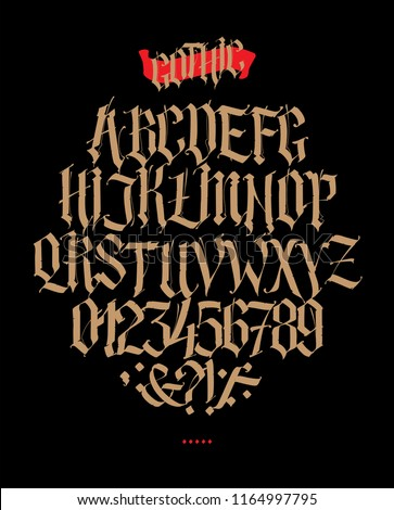 Full alphabet in the Gothic style. Vector. Letters and symbols on a black background. Calligraphy and lettering. Medieval Latin letters. Individual letters. Elegant font for tattoo.