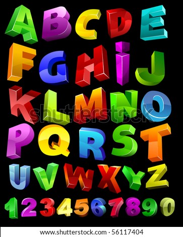 full alphabet with numerals - stock vector