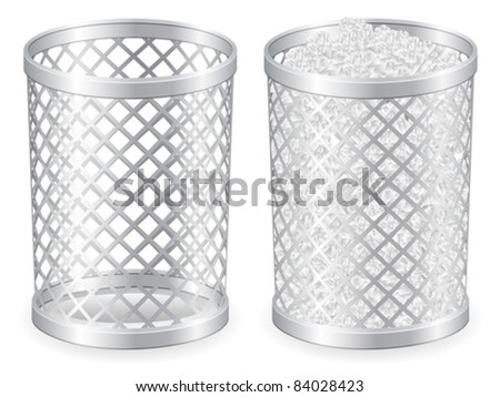 Full and empty grid trash can. Vector illustration.