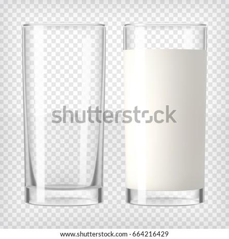 full and empty milk glasses
